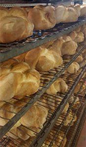 Vertical racks of bread